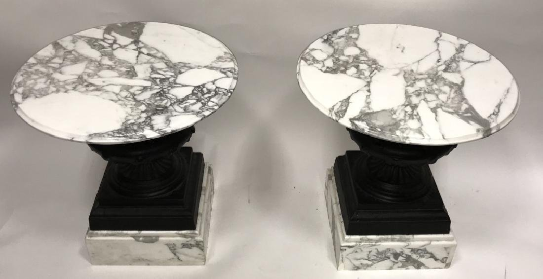 Pair Cast Iron Urn and Marble Side Tables - 3