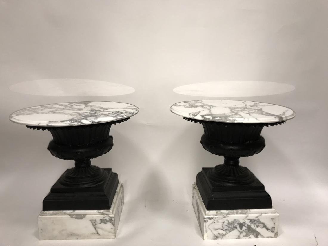 Pair Cast Iron Urn and Marble Side Tables - 4