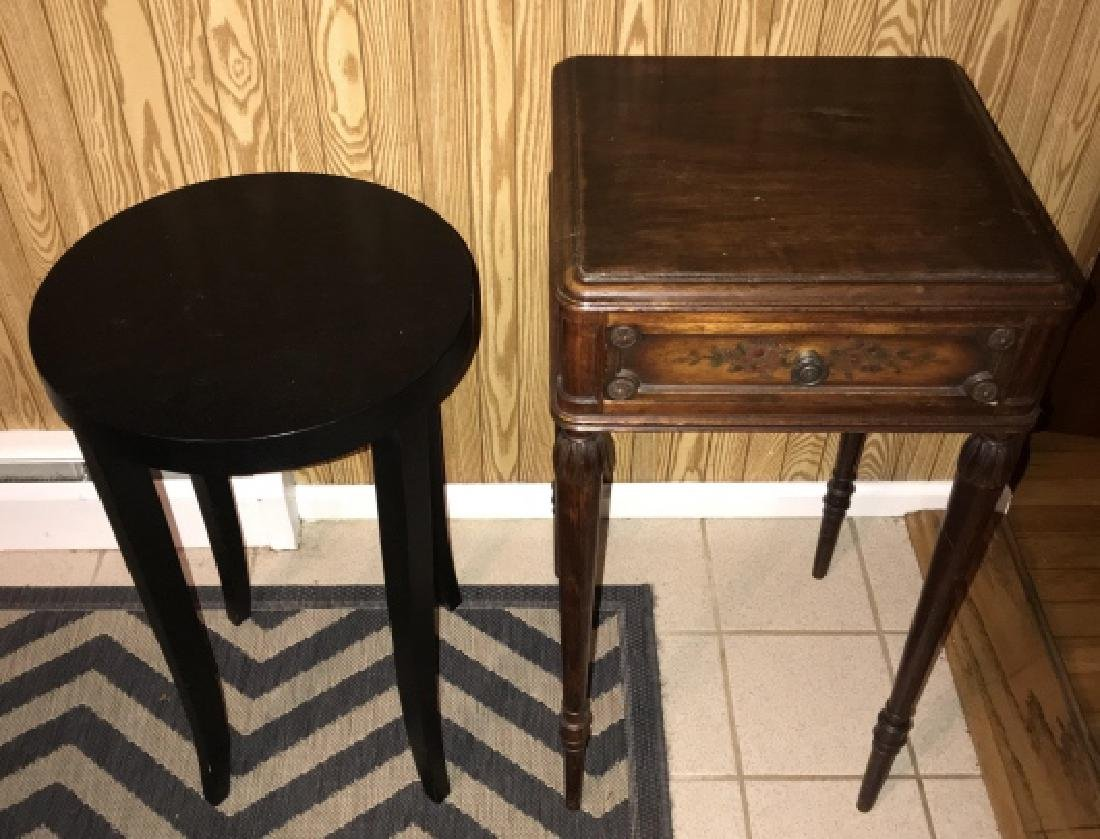 Two End Tables - French Style & Round Contemporary