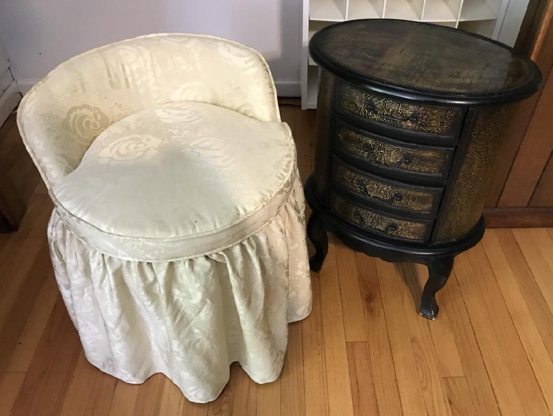 Contemporary Oval End Table & Slipper Chair