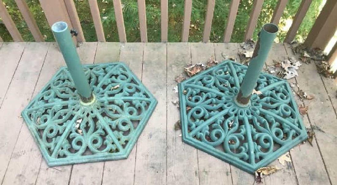 Pair of Painted Cast Iron Outdoor Umbrella Bases