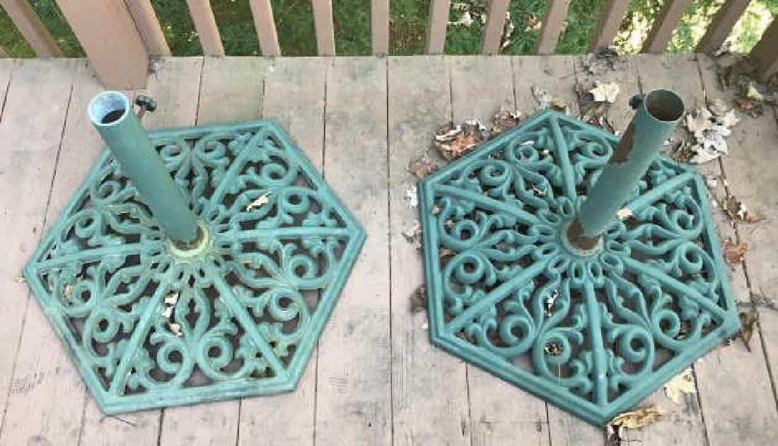 Pair of Painted Cast Iron Outdoor Umbrella Bases - 2