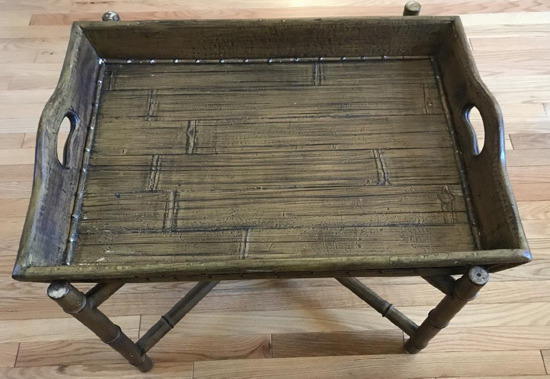 Contemporary Faux Bamboo Tray Top Coffee Table
