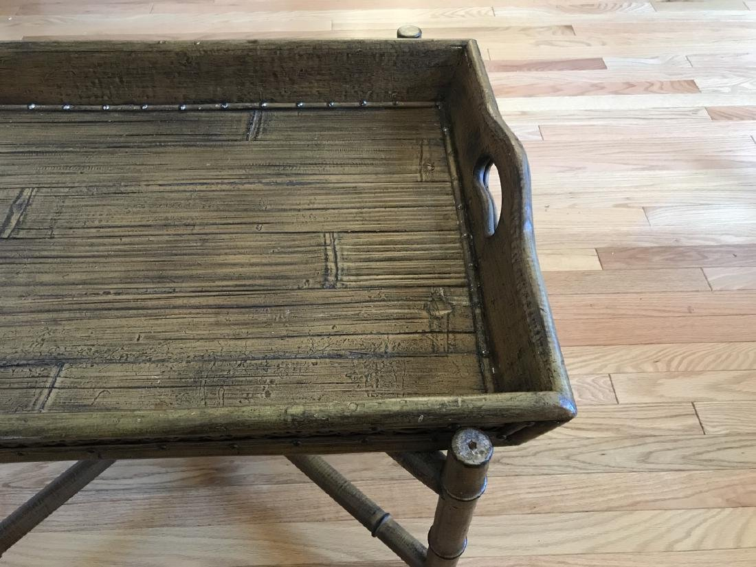 Contemporary Faux Bamboo Tray Top Coffee Table - 2