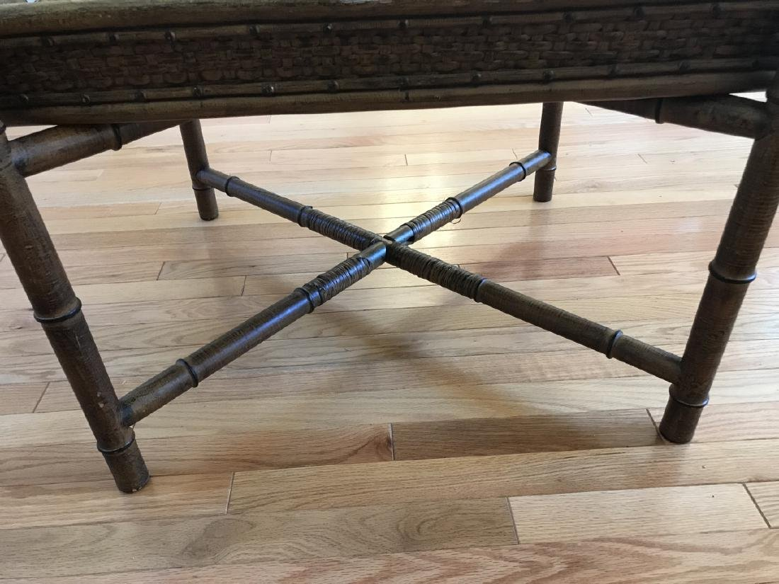 Contemporary Faux Bamboo Tray Top Coffee Table - 4