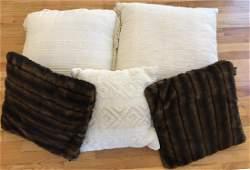 Five Throw Pillows - Pair Faux Fur & Beige Tones