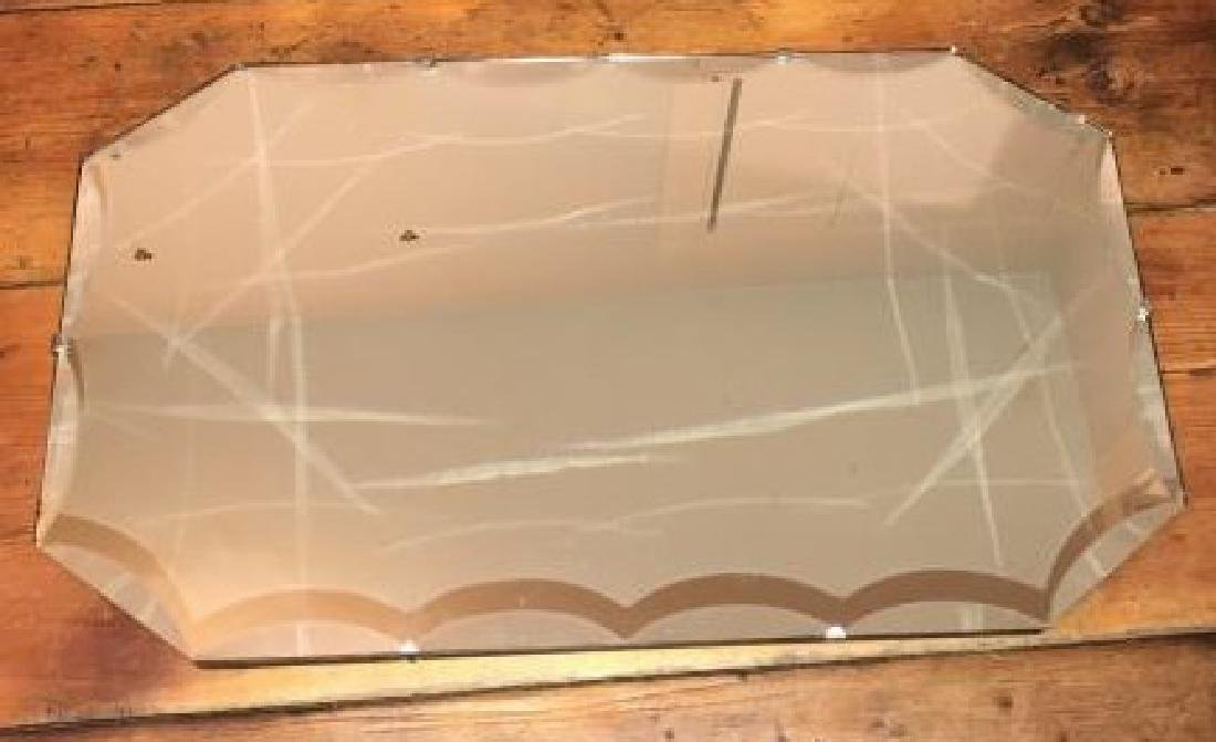 Vintage Wall Mirror w Scalloped Bevel Design Edge