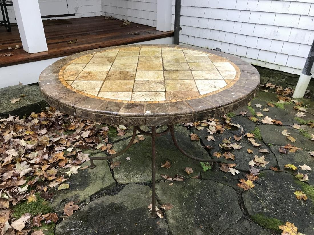 Custom Made Mosaic Tile Top Round Dining Table - 3