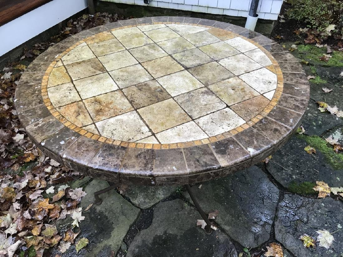 Custom Made Mosaic Tile Top Round Dining Table - 5