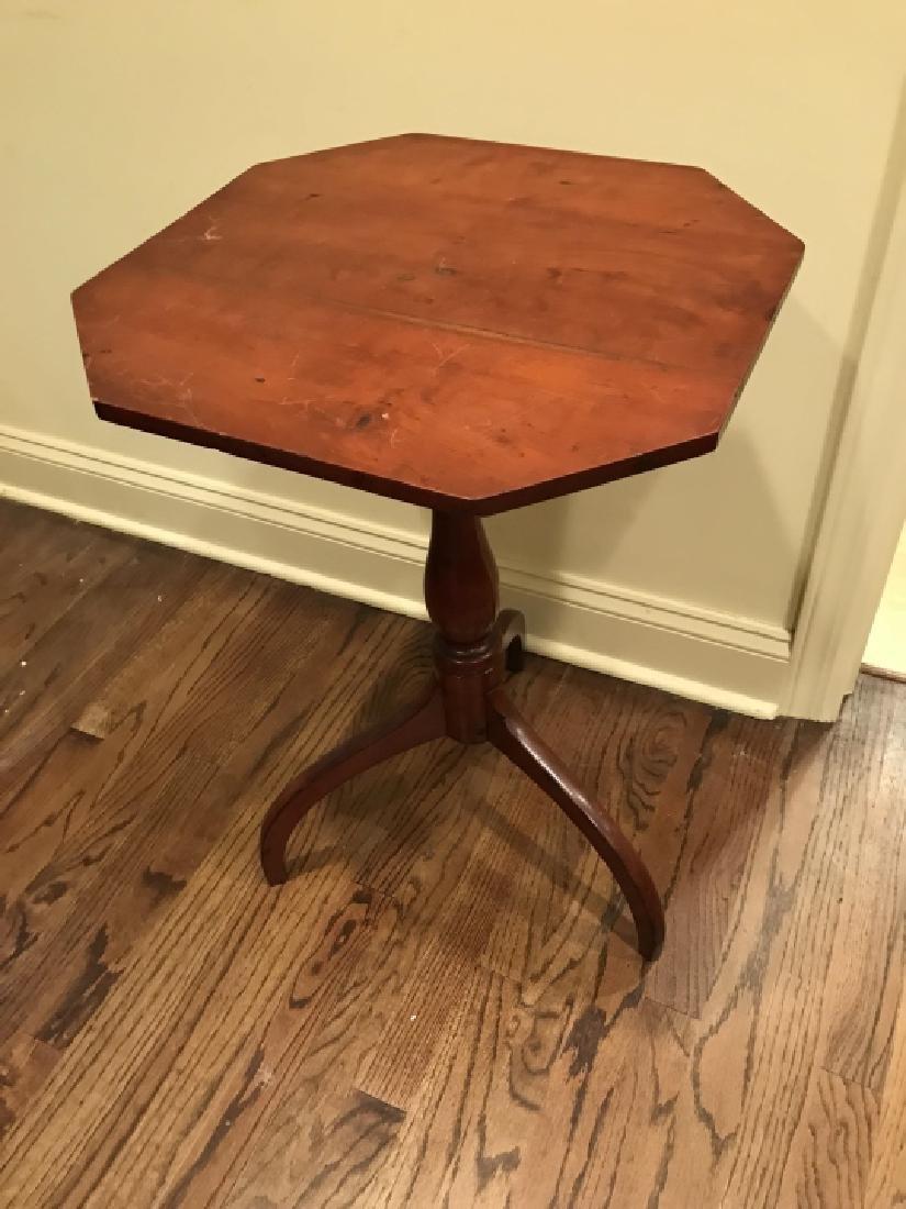 Antique Octagonal Top Pedestal Base End Table - 3