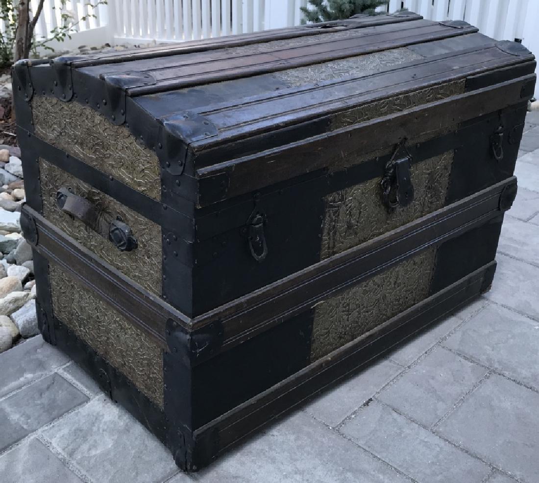 Antique PT Dugan & Co Hammered Metal Steamer Trunk