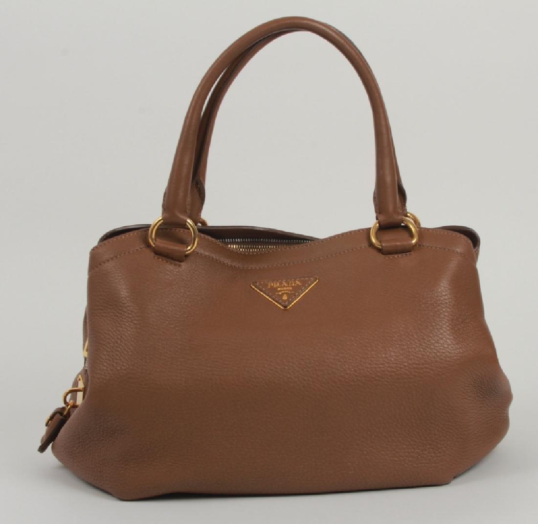 Prada Light Brown Leather Purse / Hand Bag