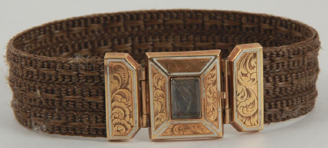Antique 19th C Gold & Woven Hair Mourning Bracelet