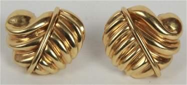 Pair Vintage 18kt Yellow Gold Leaf Earrings