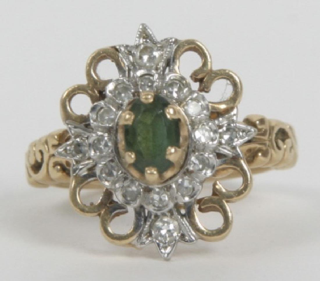 Estate 14kt Yellow Gold Chrysoprase & Diamond Ring