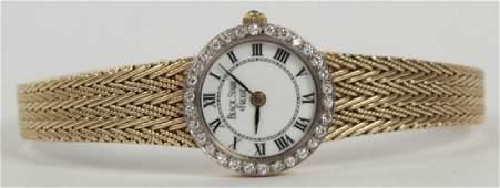 Estate 14kt Yellow Gold & Diamond Bezel Watch
