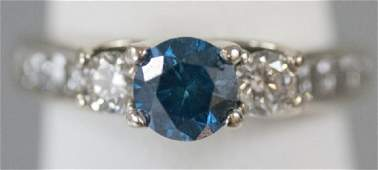 Estate 14kt White Gold Blue  White Diamond Ring