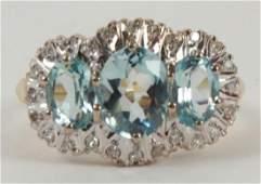 Estate 18kt Gold Diamond & Aquamarine Ring