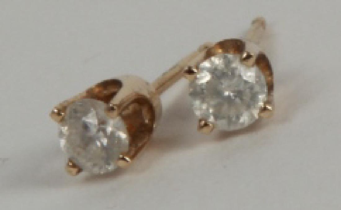 Pair Estate 14k Yellow Gold Diamond Stud Earrings