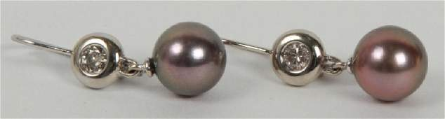 Pair 14kt Gold Diamond & Tahitian Pearl Earrings