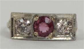 Antique 14kt Gold Diamond & Ruby Filigree Ring