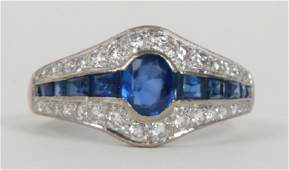Deco Style 18k White Gold Sapphire Diamond Ring