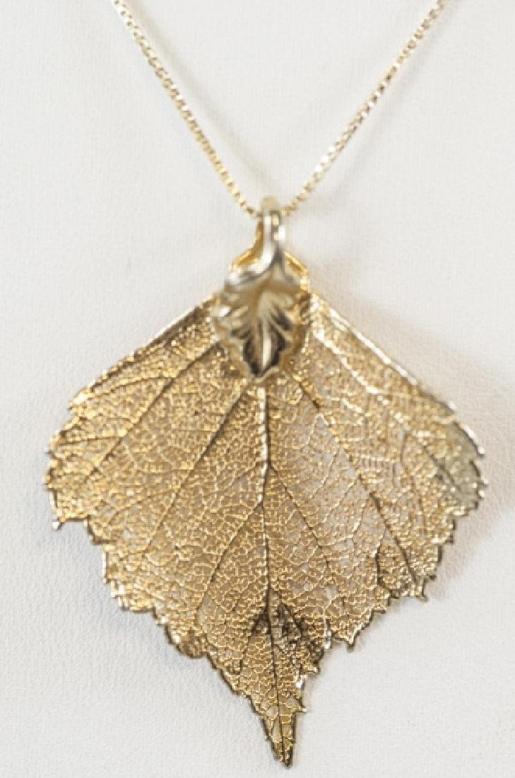 Gold Plated Leaf Necklace Pendant w Vermeil Chain