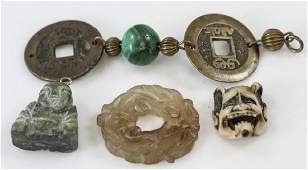 Vintage Chinese  Asian Necklace Pendants Carvings