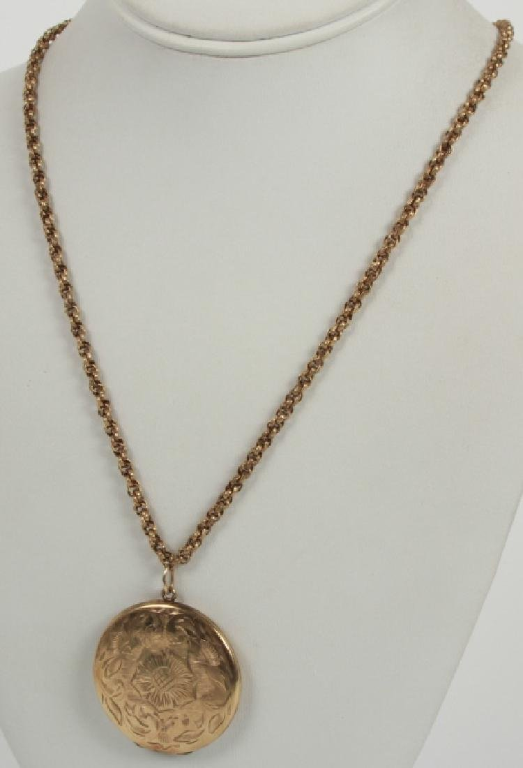 Antique 19th C Gold Filled Necklace w Locket