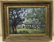 Charles Vezin Signed Oil Painting Landscape Scene