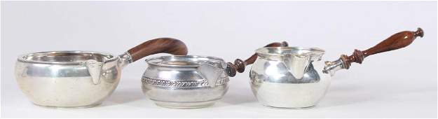 Three Sterling Silver & Wood Handle Sauce Boats