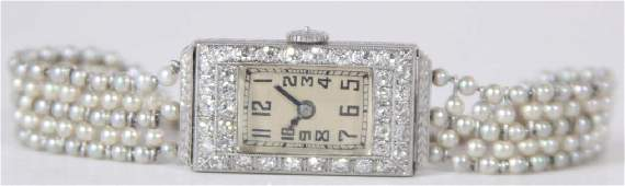 Antique Art Deco Diamond & Platinum Ladies Watch