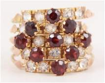 Vintage 10k Yellow Gold Garnet White Sapphire Ring