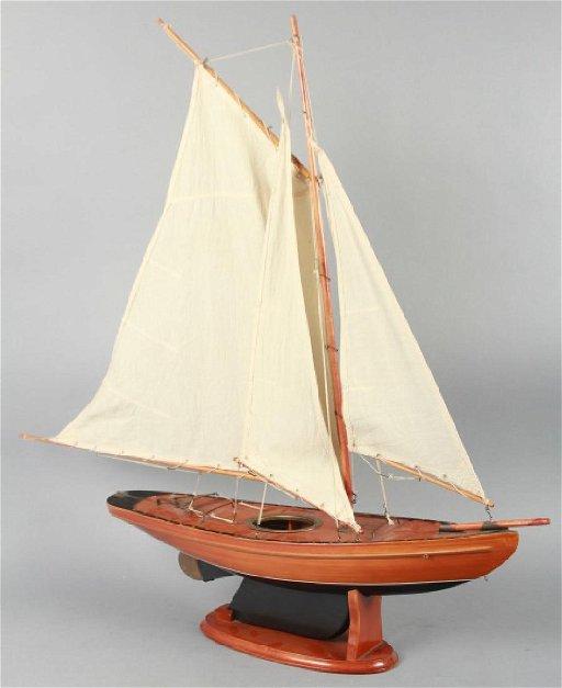 Wooden Handmade Yacht Model, Muslin Sails