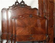 Pair of Carved French Rococo Style Twin Size Beds
