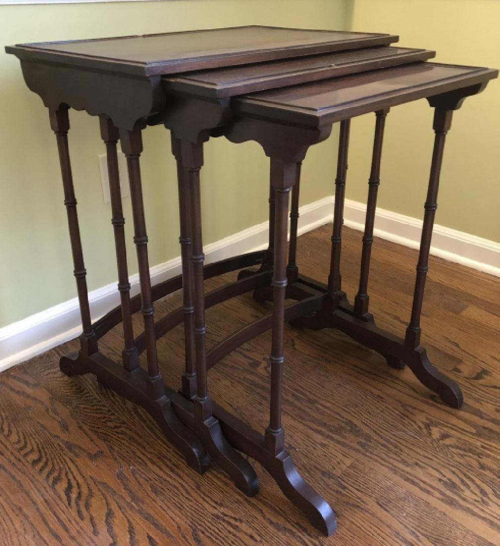 Georgian Style Faux Bamboo Mahogany Nesting Tables