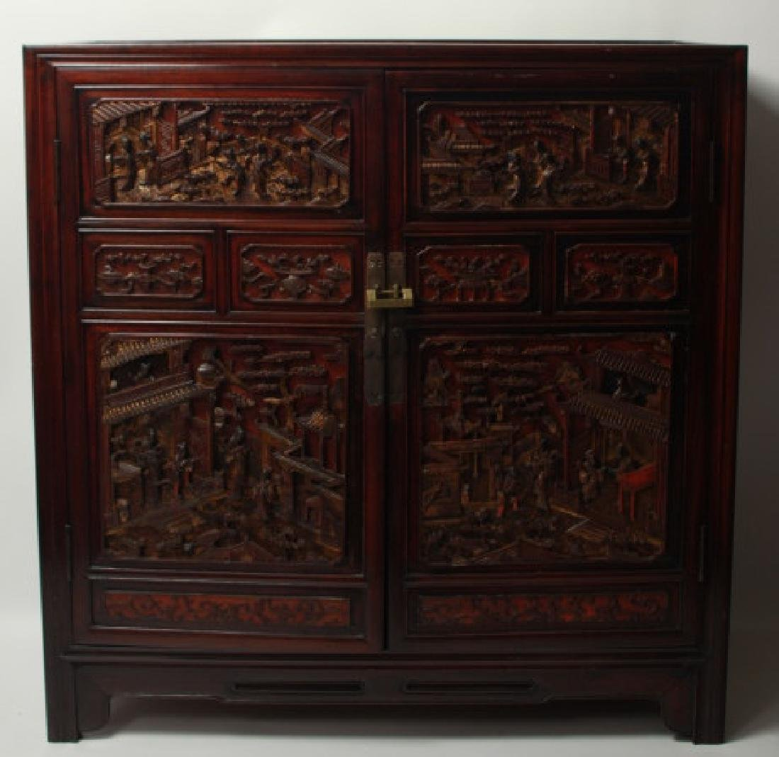 Heavily Hand Carved Chinese Rosewood Cabinet