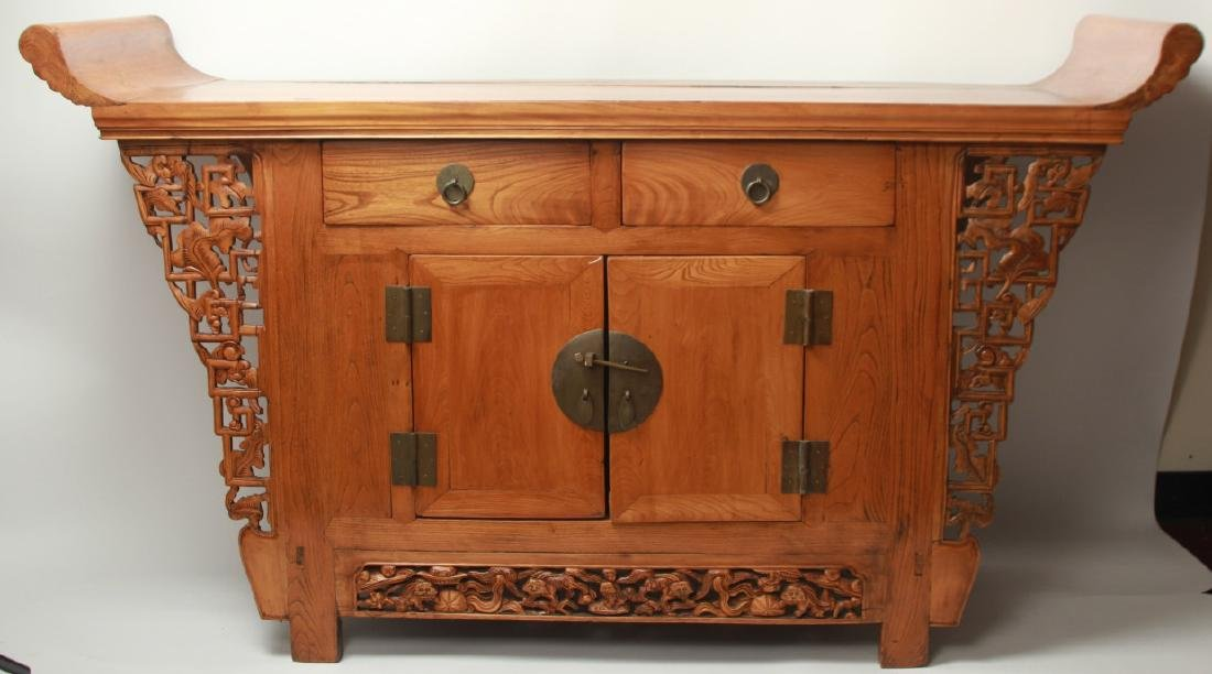 Hand Carved Chinese Altar Form Console Table