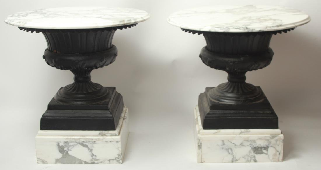 Pair Cast Iron Urn and Marble Side Tables