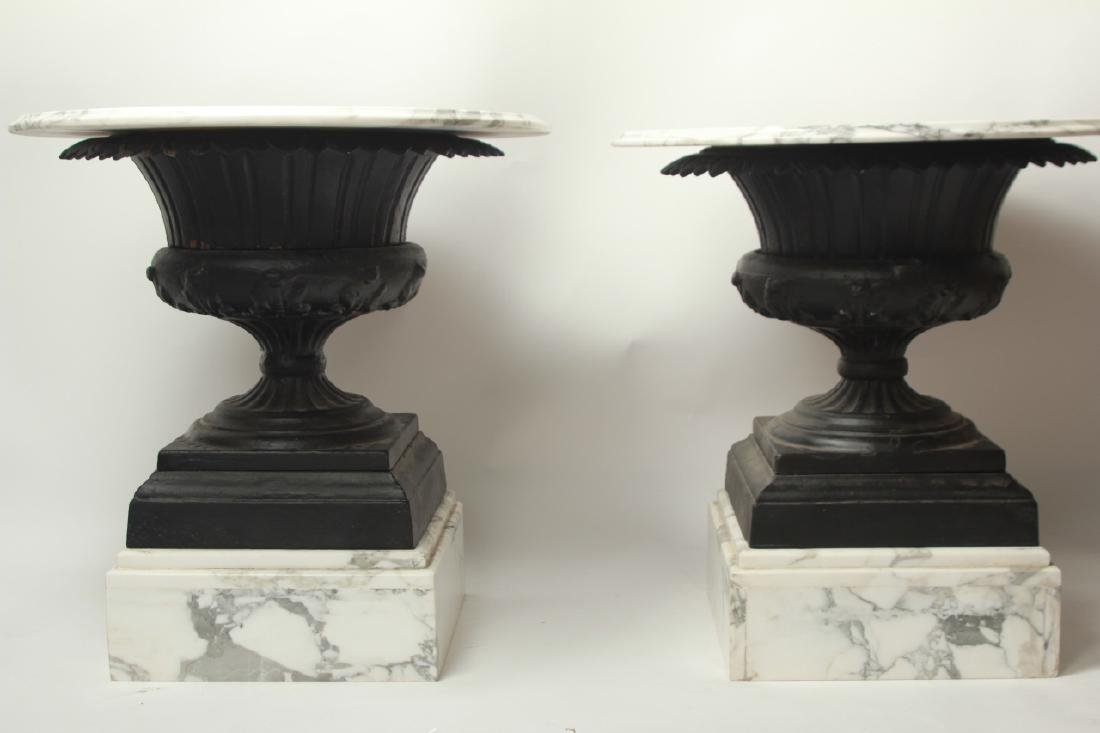 Pair Cast Iron Urn and Marble Side Tables - 5