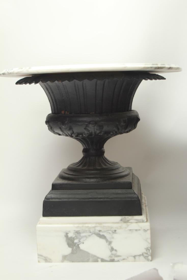 Pair Cast Iron Urn and Marble Side Tables - 6