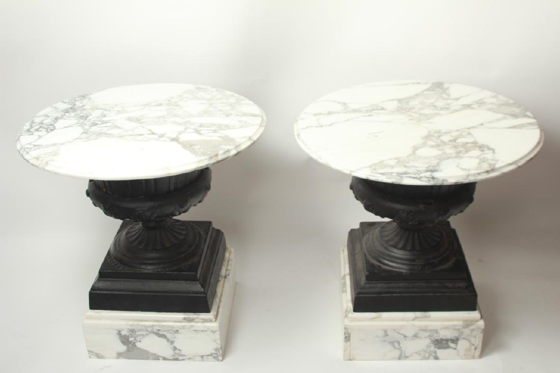 Pair Cast Iron Urn and Marble Side Tables - 7