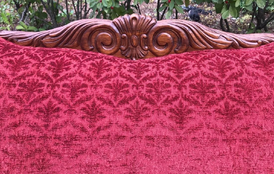 Carved Brocade Upholstered Oversized Parlor Settee - 4