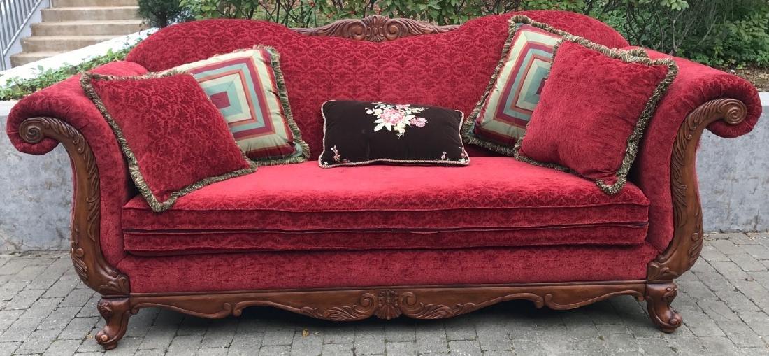 Carved Brocade Upholstered Oversized Parlor Settee - 5