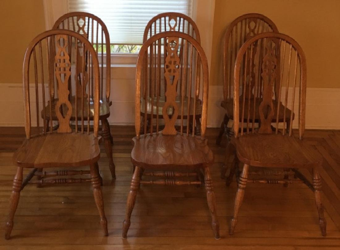 6 Windsor Style Oak Dining / Side Chairs