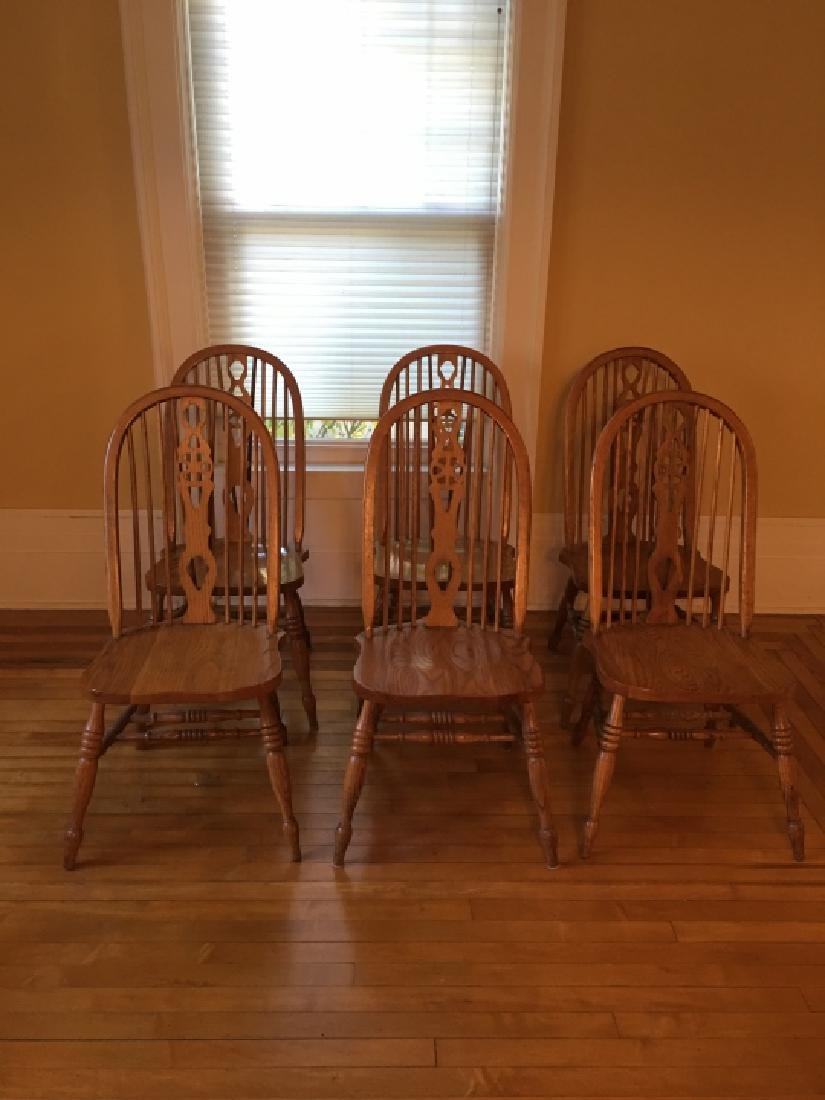 6 Windsor Style Oak Dining / Side Chairs - 2