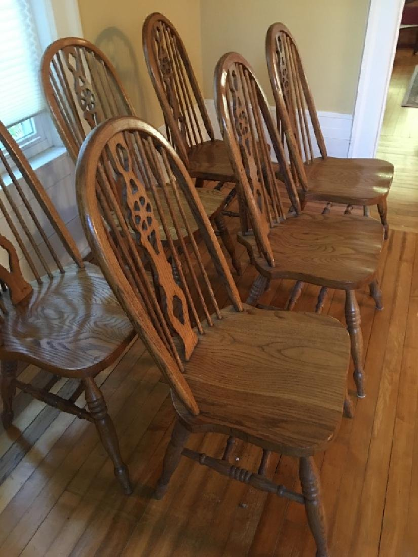 6 Windsor Style Oak Dining / Side Chairs - 3