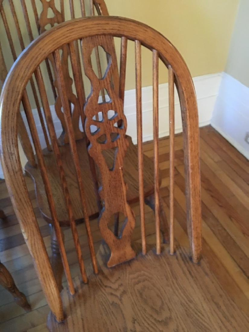 6 Windsor Style Oak Dining / Side Chairs - 4