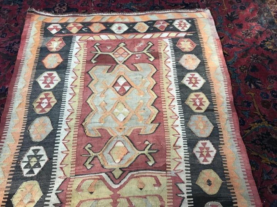 Vintage Kilim Style Woven Throw Rug / Carpet - 2