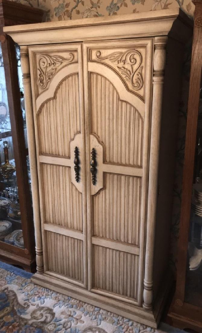 French Provencal Style Carved Door Armoire Cabinet